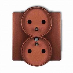 Gniazda-podwojne-podtynkowe - brązowe gniazdo elektryczne podwójne z uziemieniem do ramek deco soft 9dgprso-2z karlik
