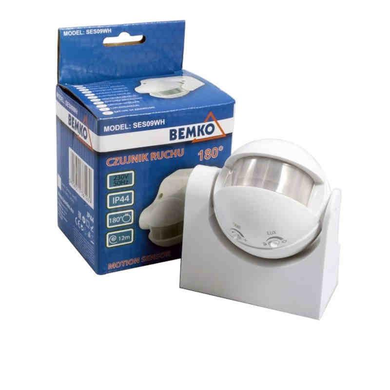 Czujniki-ruchu - czujnik ruchu/zmierzchu na ścianę biały 180 stopni 1200w b50-ses09wh bemko firmy BEMKO