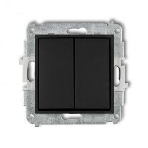 Wylaczniki-schodowe - czarny matowy włącznik schodowy podwójny bez piktogramów 12mwp-33.1 deco mini karlik
