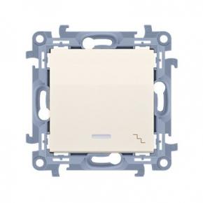 Kremowy włącznik schodowy z podświetleniem LED CW6L.01/41 Simon 10 Kontakt-Simon