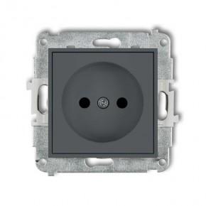 Gniazda-pojedyncze-podtynkowe - gniazdko elektryczne pojedyncze szary mat bez uziemienia z przesłonami torów 28mgp-1p deco mini karlik
