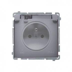 Gniazdo wtyczkowe IP44 -  klapka srebrny mat BMGZ1B.01/43A Simon Basic Kontakt-Simon