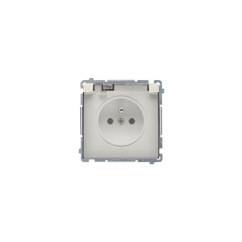 Beżowe gniazdo wtyczkowe IP44 -  klapka BMGZ1B.01/12A Simon Basic Kontakt-Simon