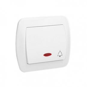 Biały przycisk dzwonek z podświetleniem AD1L/11 Simon Akord Kontakt-Simon