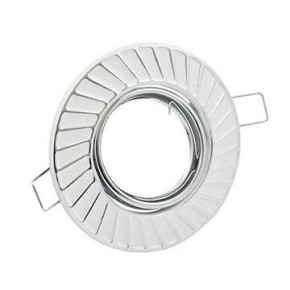 Oprawy-sufitowe-ruchome - oczko sufitowe biało-srebrne ruchome fobos 7805 310255 polux