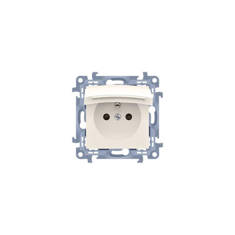 Kremowe gniazdo pojedyncze IP44 z klapką CGZ1B.01/41 Simon 10 Kontakt-Simon
