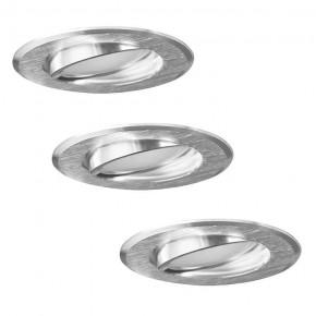Oprawy-sufitowe-ruchome - zestaw trzech sztuk opraw sufitowych ruchomych podtynkowych srebrny szczotkowany 3w1 sun olal 305275 polux