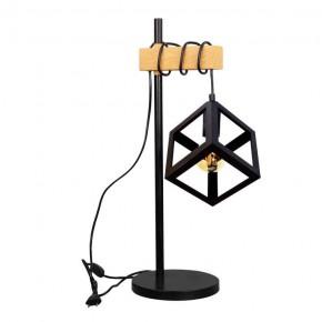 Lampki-biurkowe - lampka stołowa geometryczna z drewnianą  wstawką sweden wood polux