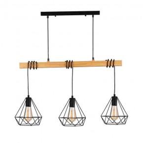 Oswietlenie-sufitowe - druciana lampa 3 klosze z drewnianą wstawką 3xe27 .vigo wood polux