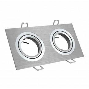 Oprawy-sufitowe-ruchome - oprawa halogenowa ruchoma podwójna srebrna szczotkowana gu10 south opal 2 polux