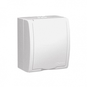 Gniazdo elektryczne pojedyncze z uziemieniem IP54 z klapką w kolorze białym AQGZ1/11 Simon Aquarius Kontakt-Simon