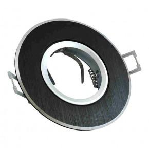 Oprawy-sufitowe-ruchome - oczko sufitowe ruchome czarne szczotkowane z gniazdem gu10 west opal polux