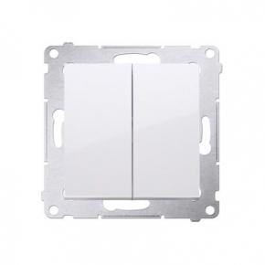 Biały włącznik podwójny świecznikowy 10AX DW5.01/11 Simon 54 Kontakt-Simon