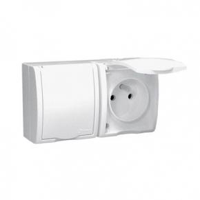 Białe gniazdo elektryczne podwójne z uziemieniem IP54 i klapką w kolorze obudowy 16A AQGZ1-2/11 Simon Aquarius Kontakt-Simon