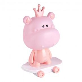Lampki-nocne - różowa lampka nocna led dla dziecka hipopotam na deskorolce 2,5w 314796 polux