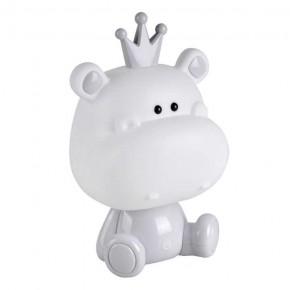 Lampki-nocne - dziecięca lampka nocna led hipopotam szary/biały 3 stopnie jasności 2,5w 314765 polux