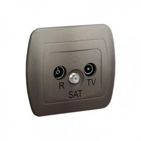 Satynowe gniazdo antenowe R-TV-SAT przelotowe AASP/29 Simon Akord Kontakt-Simon