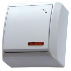 Biały mechanizm włącznika natynkowego schodowego z podświetleniem ŁN-3BS/00 BIS OSPEL