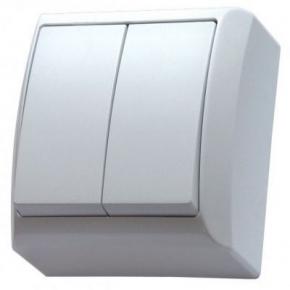 Włącznik natynkowy dwugrupowy świecznikowy biały ŁN-2B BIS OSPEL