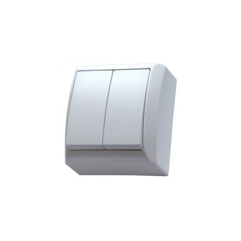 Wylaczniki-podwojne - włącznik natynkowy dwugrupowy świecznikowy biały łn-2b bis ospel firmy OSPEL