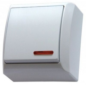 Włącznik światła z podświetleniem natynkowy ŁN-1BS/00 BIS OSPEL
