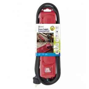 Przedluzacze-elektryczne - przedłużacz z wyłącz. 4 gn, 3m 1,5mm, ip44 guma, czerwony emos - 1902340301