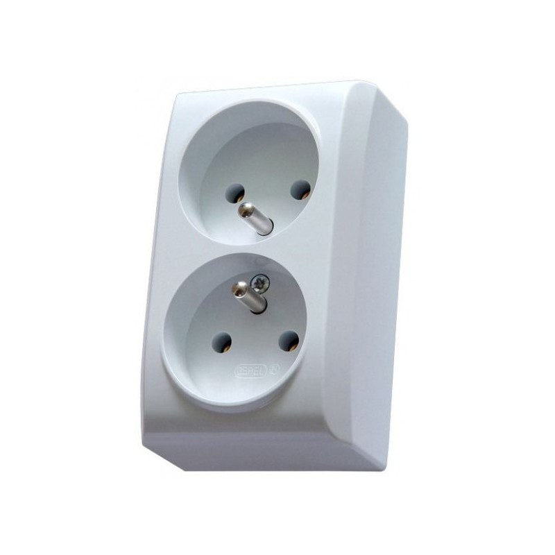 Gniazda-elektryczne - białe gniazdo natynkowe podwójne z uziemieniem ospel bis gn-2bz/00 firmy OSPEL