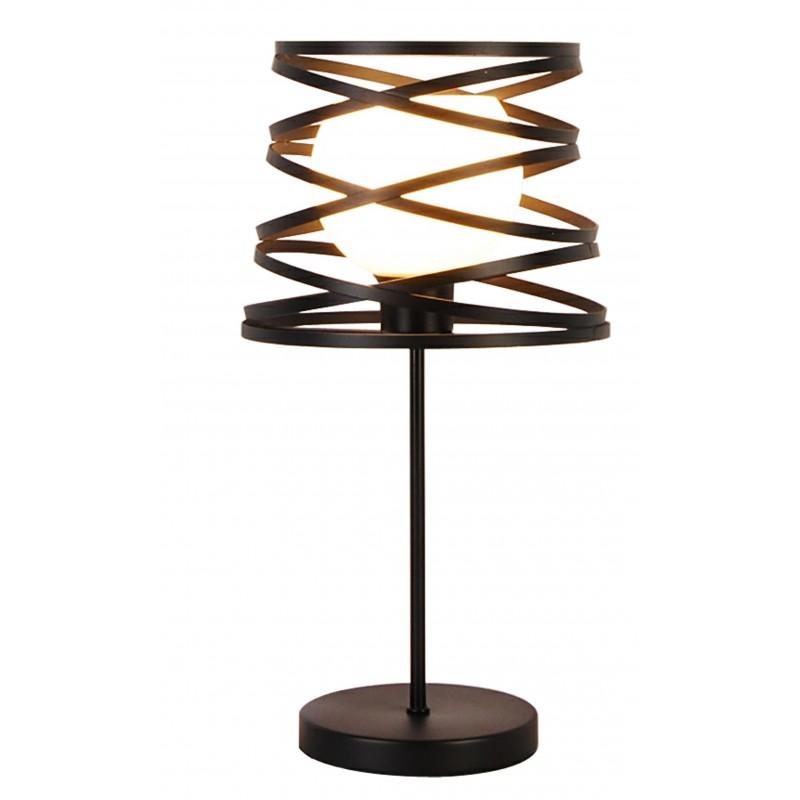 Lampki-nocne - lampa stołowa z zakręconym metalowym kloszem 1xg9 akita firmy LEDEA