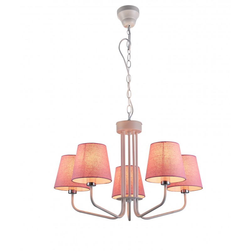Lampy-sufitowe - różowy żyrandol na pięć żarówek e14 york ledea 50205094 candellux firmy LEDEA