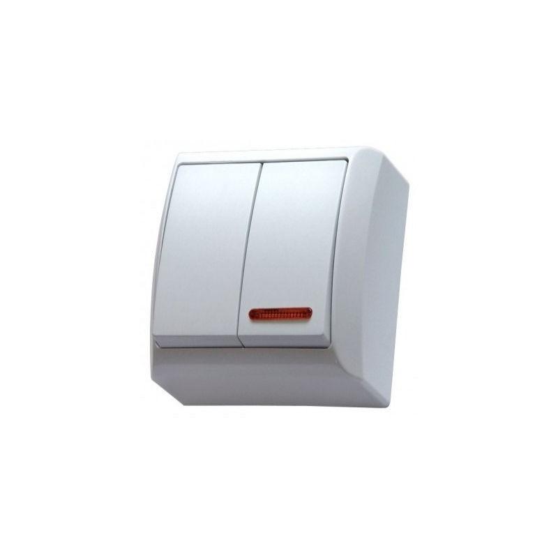 Biały włącznik podwójny z podświetleniem natynkowy OSPEL BIS ŁN-2BS/00