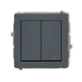 Wylaczniki-schodowe - włącznik jednobiegunowy+schodowy (osobne zasilanie) grafitowy mat 28dwp-10.2 deco karlik