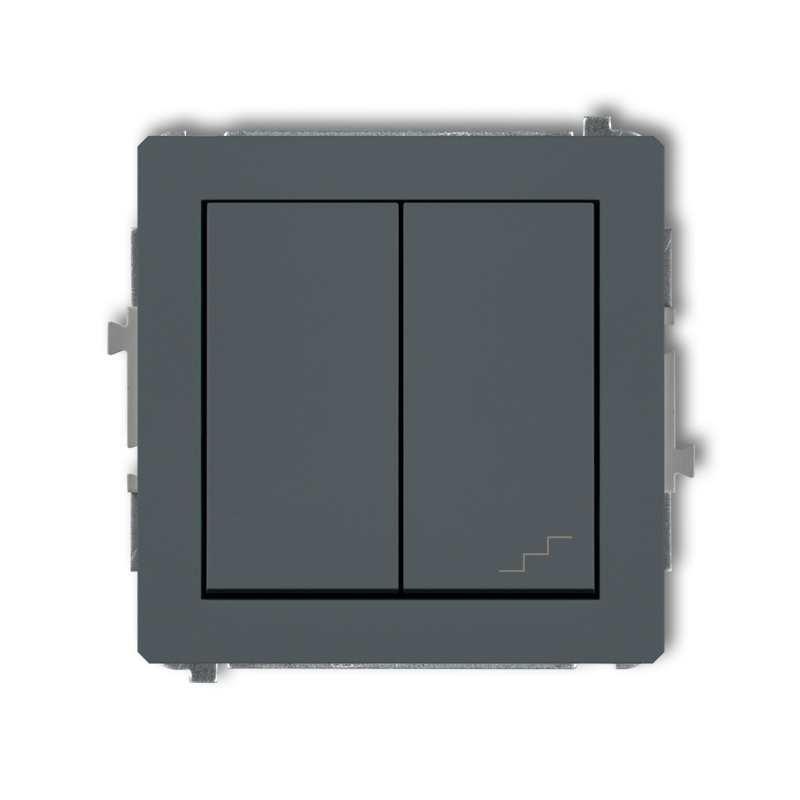 Wylaczniki-schodowe - włącznik jednobiegunowy+schodowy (osobne zasilanie) grafitowy mat 28dwp-10.2 deco karlik firmy Karlik