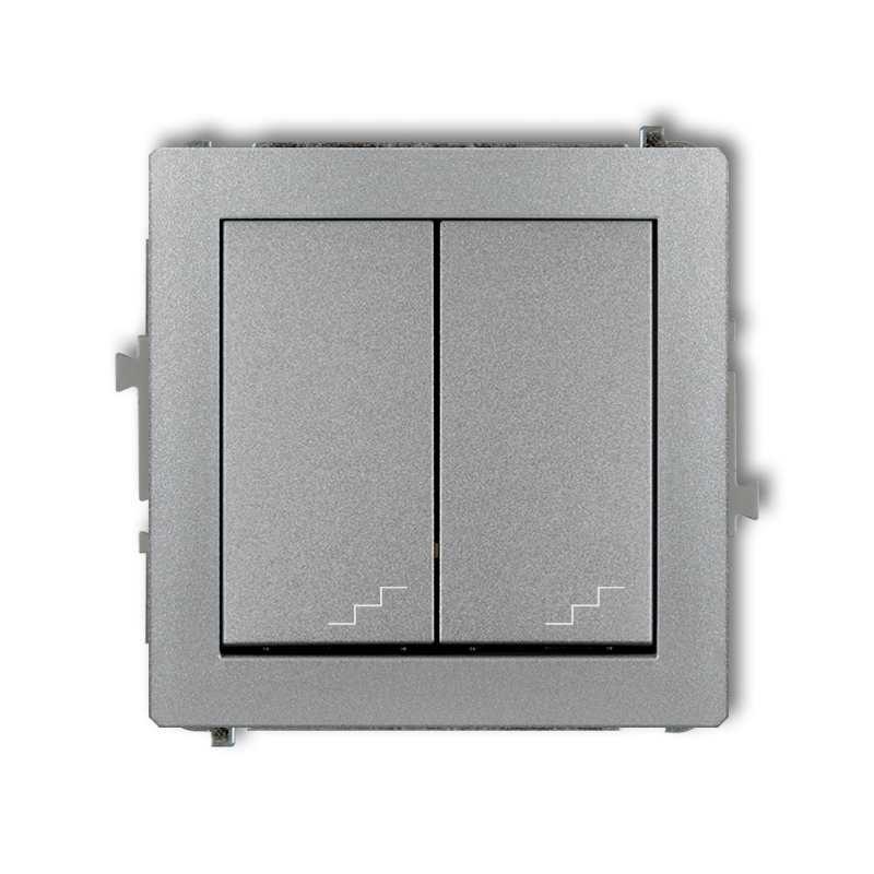 Wylaczniki-schodowe - podwójny włącznik schodowy srebrny 7dwp-33 deco karlik firmy Karlik