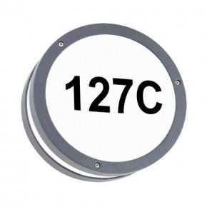 Kinkiety-ogrodowe - oprawa hermetyczna led z podświetlanym numerem domu szara 7,5w ip54 solina led c 03836 ideus
