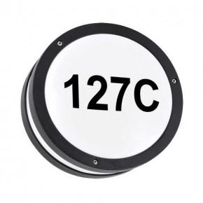 Kinkiety-ogrodowe - okrągła czarna lampa led z podświetlanym numerem domu 7,5w 4000k solina led c 03837 ideus