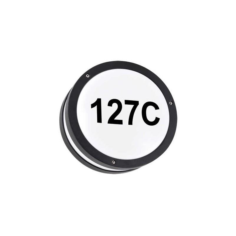 Kinkiety-ogrodowe - okrągła czarna lampa led z podświetlanym numerem domu 7,5w 4000k solina led c 03837 ideus firmy IDEUS - STRUHM