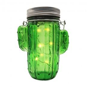 Lampy-solarne-balkonowe - słoik solarny szklany lampka zielony kaktus led 5 3000k polux