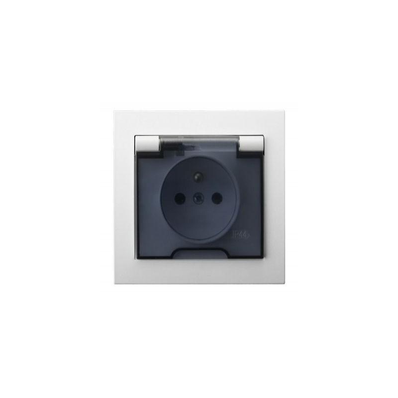 Białe gniazdo hermetyczne IP44 z klapką i uziemieniem GPH-1WZ/00/d KIER OSPEL