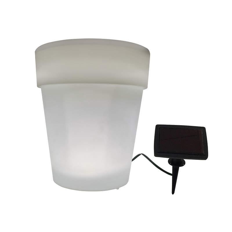 Lampy-solarne-balkonowe - biała świecąca doniczka solarna do ogrodu led polux firmy POLUX