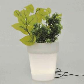 Lampy-solarne-balkonowe - biała świecąca doniczka solarna do ogrodu led polux