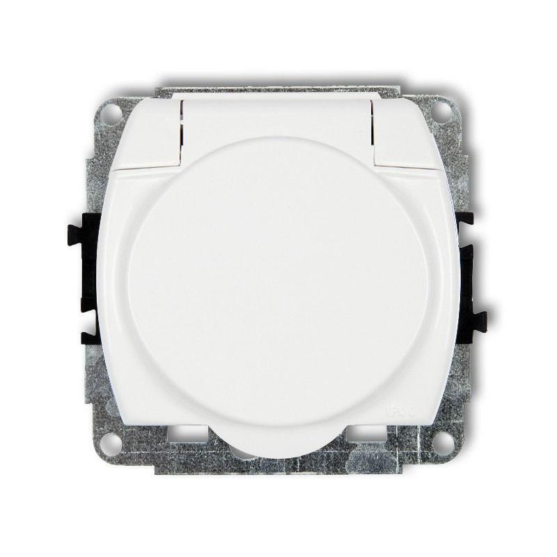 GPB-1z Białe gniazdo elektryczne z klapką do łazienki TREND KARLIK