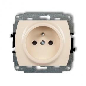 1GP-1z Beżowe gniazdo elektryczne z uziemieniem TREND KARLIK