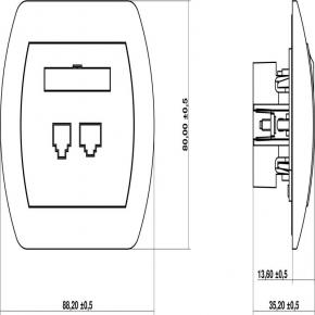 GT-2 Gniazdo telefoniczne podwójne 2xRJ11 TREND KARLIK