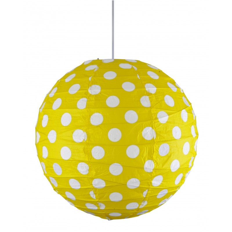 Lampy-sufitowe - uroczy abażur żółty w białe kropki kokon 70-76178 candellux firmy Candellux