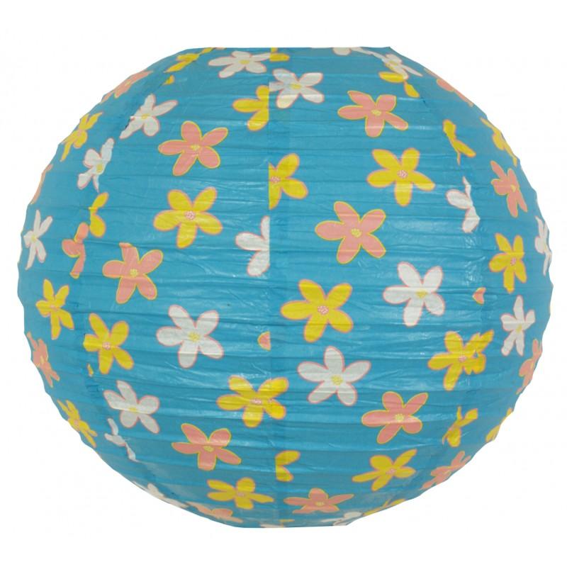 Lampy-sufitowe - błękitny abażur z papieru w kwiatki kokon 70-96930 candellux firmy Candellux