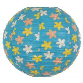 Lampy-sufitowe - błękitny abażur z papieru w kwiatki kokon 70-96930 candellux