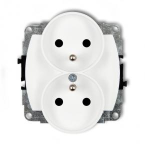GPR-2z Białe gniazdko podwójne z uziemieniem do ramki KARLIK TREND