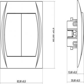 1LWP-2L Włącznik światła dwustrefowy z podświetleniem beżowy LOGO KARLIK