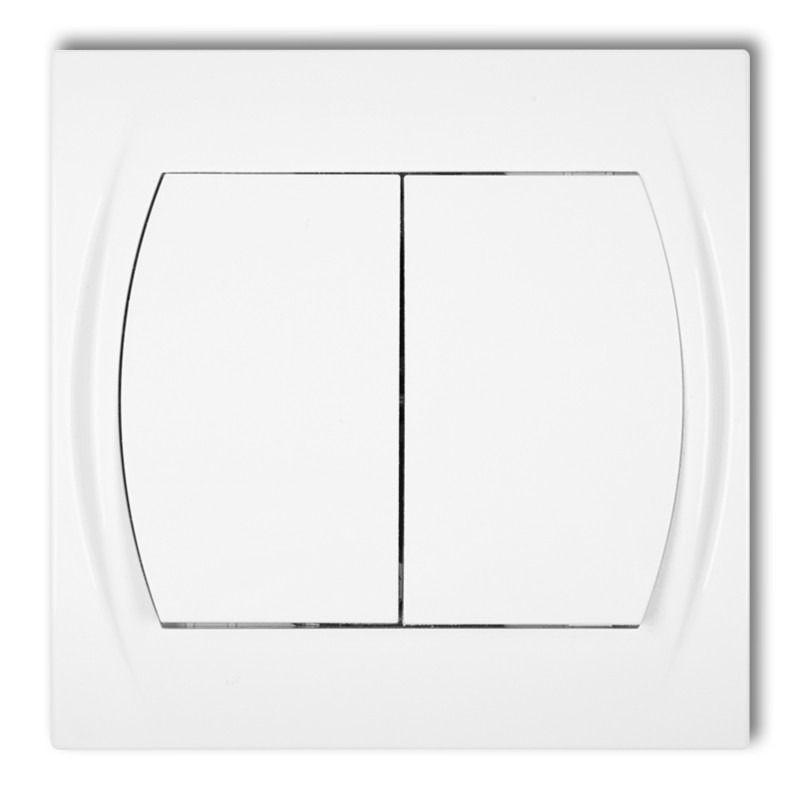 Wylaczniki-podwojne - włącznik świecznikowy podwójny z podświetleniem lwp-2l biały logo karlik firmy Karlik