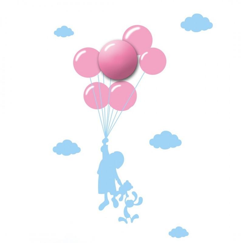 Oswietlenie-do-pokoju-dzieciecego - lampka dziecięca na ścianę różowe baloniki plafon plus naklejki balloons 0,6w led eko-light firmy EKO-LIGHT
